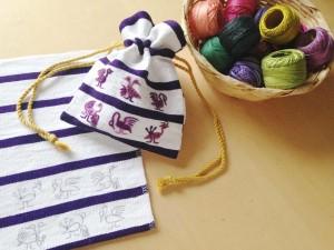 サンティアゴ刺繍巾着1